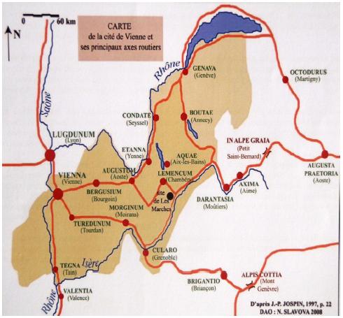 Carte de la cité de Vienne et des principaux axes routiers, Slavova N., 2008