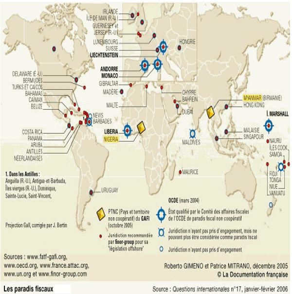 Carte des paradis fiscaux dans le monde