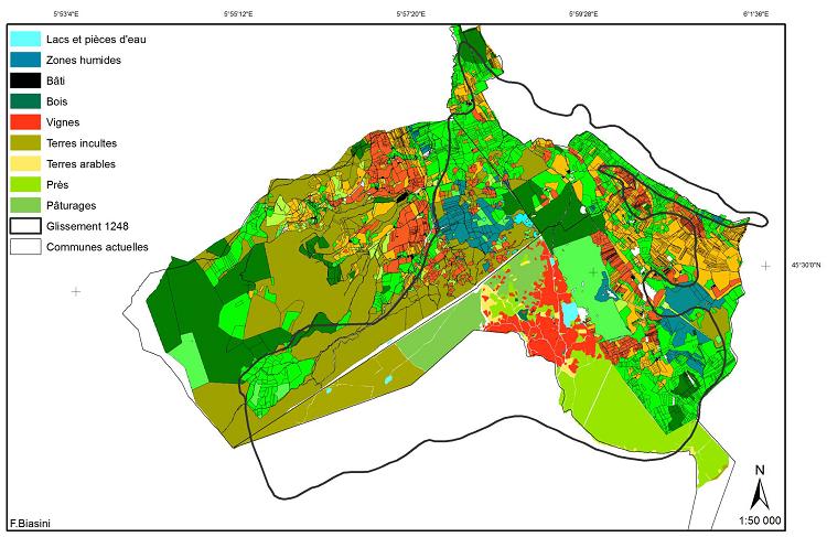 Carte schématique de la nature des sols pour les trois mappes étudiées (d'après Barbero)