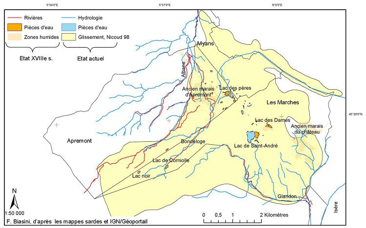 Comparaison entre le réseau hydrographique du XVIIIe s. et actuel sur l'éboulement du Granier