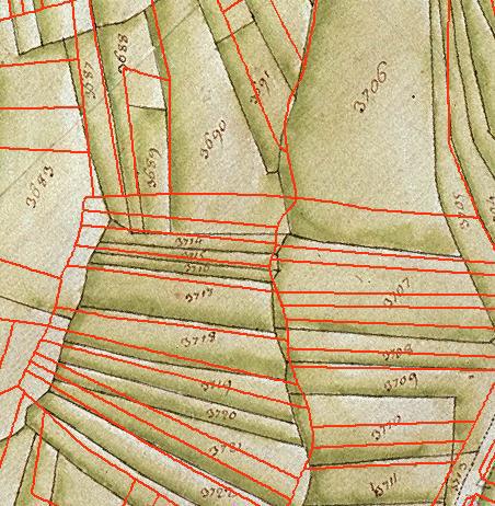 En rouge le parcellaire actuel géoréférencé sur la mappe sarde