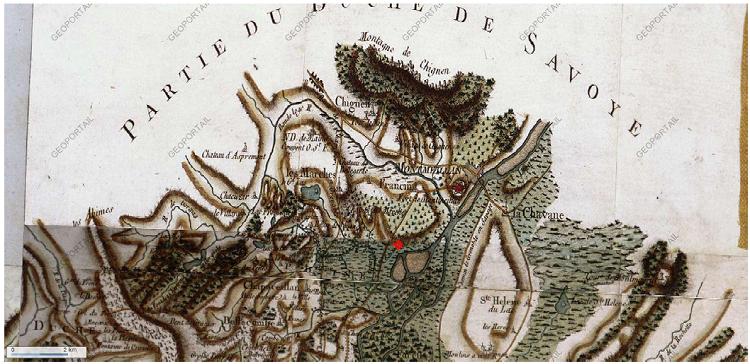 Extrait de la carte de Cassini, site internet géoportail, le point rouge est à l'emplacement du village des Marches