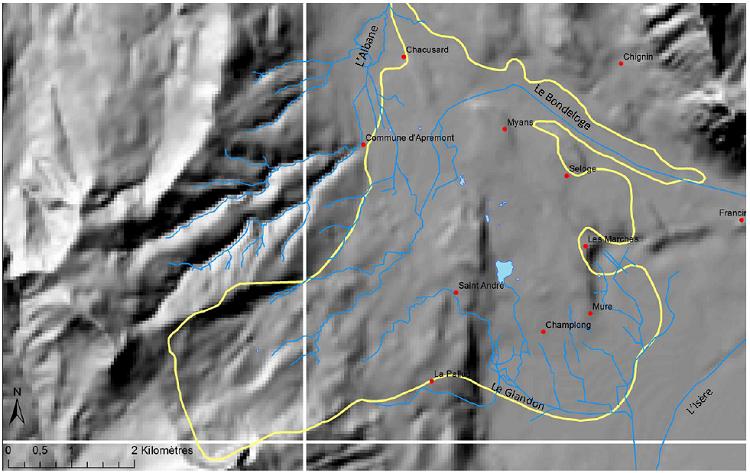 Le nouveau réseau hydrographique sur le glissement de 1248