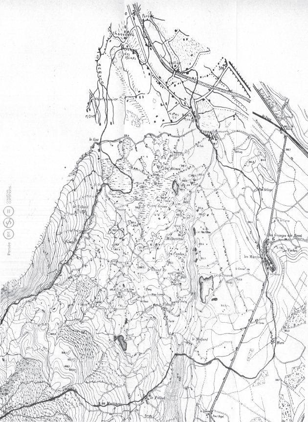 Les Abîmes de Myans, d'après le plan directeur à 1 20 000, complété au nord par un dessin de l'auteur.
