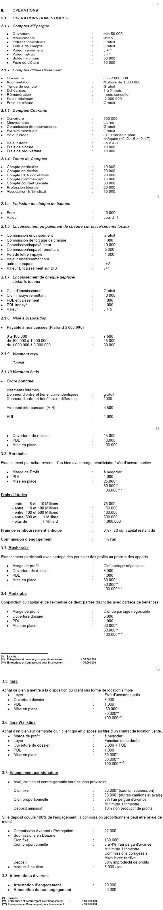 Les conditions bancaires 2006