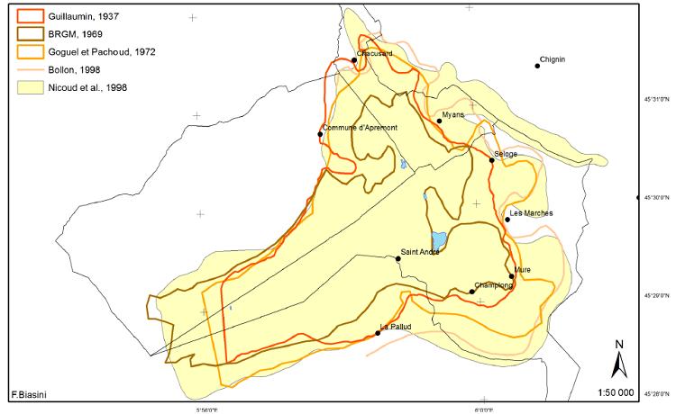 Les différentes extension du glissement du Granier
