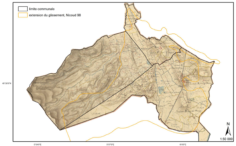 Les tables d'assemblages du premier cadastre français géoréférencées sur l'extension de l'éboulement du mont Granier