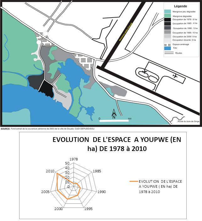 Evolution de l'occupation de l'espace à mangrove de Youpwe de 1978 à nos jours