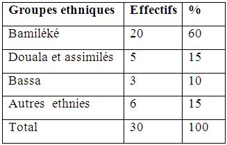 Groupes ethniques impliqués dans la vente du bois à Youpwe