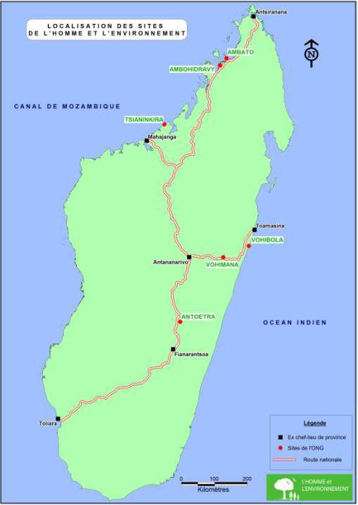 Localisation des sites d'action de MATE