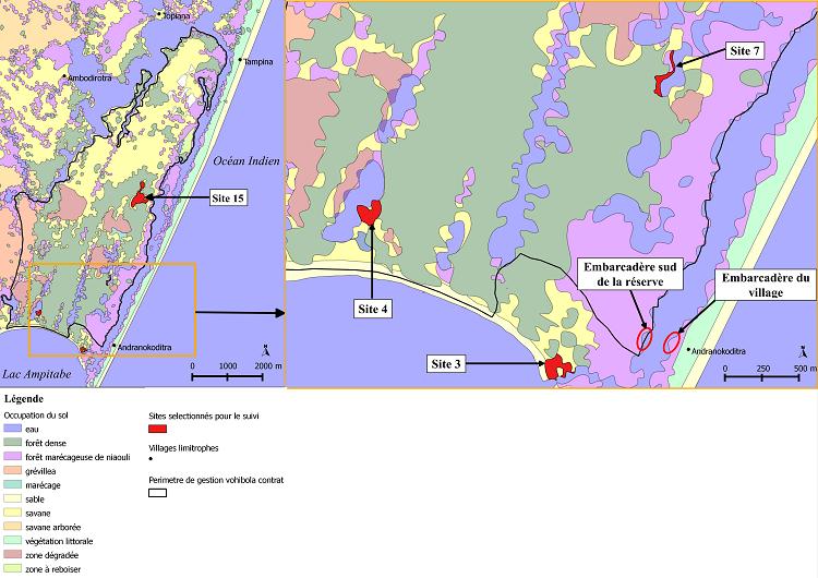 Sites sélectionnés pour le suivi amphibien de la réserve