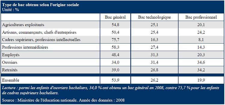 Type de bac obtenu selon l'origine sociale en 2008