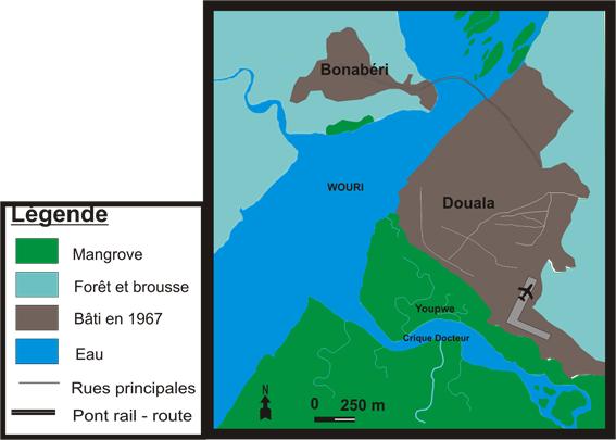 carte de la ville de Douala et le site de Youpwe en 1967