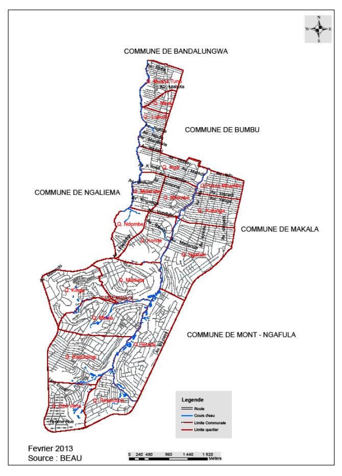 Carte Administrative de la Commune de Selembao
