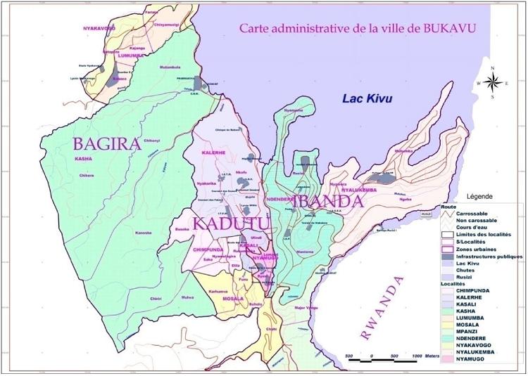Carte administrative de la ville de Bukavu