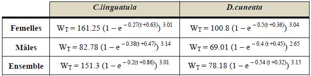 Equations de croissance en poids chez les mâles, femelles et ensemble de C.linguatula et D.cuneata