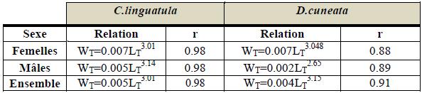 Equations des relations taille-poids de C. linguatula et D.cuneata