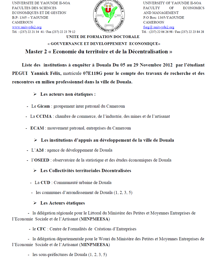LES INSTITUTIONS ENQUETEES A DOUALA