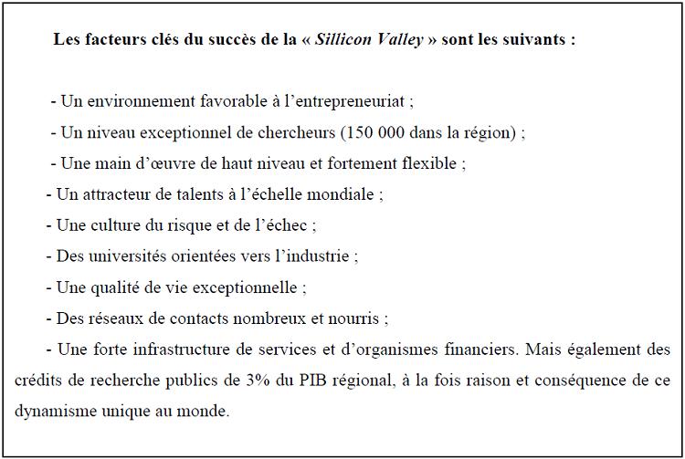 Les facteurs clés de succès de la Sillicon Valley