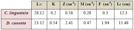 Paramètres de croissance et d'exploitation de C. linguatula et D. cuneata