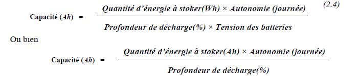 Quantité d'énergie théorique à stocker