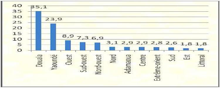 Répartition des entreprises au Cameroun par région