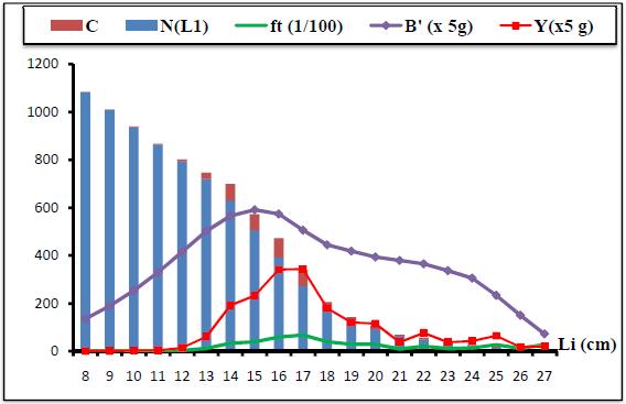 Résultats de l'analyse de cohorte de Jones (1984) fondée sur la longueur pour C. linguatulai