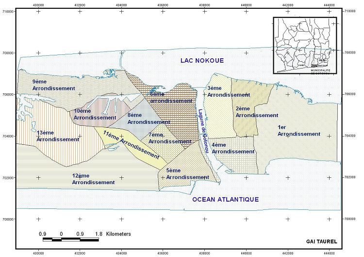 Carte Administrative de la Ville de Cotonou