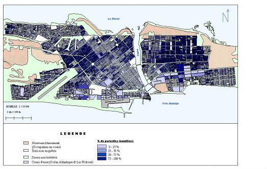 Zonage des secteurs inondables de la ville de Cotonou
