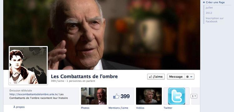 La page facebook des Combattants de l'ombre