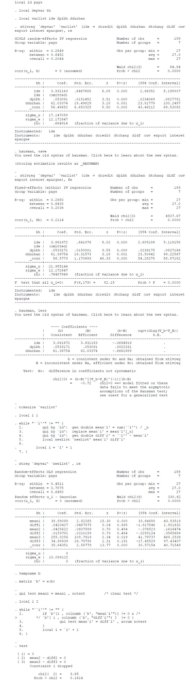 Test de spécification de Hausman généralisé pour la variable KH
