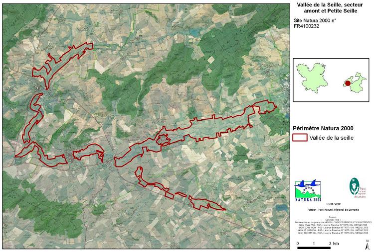 Localisation de la zone Natura 2000 de la Vallée de la Seille (source PNRL)
