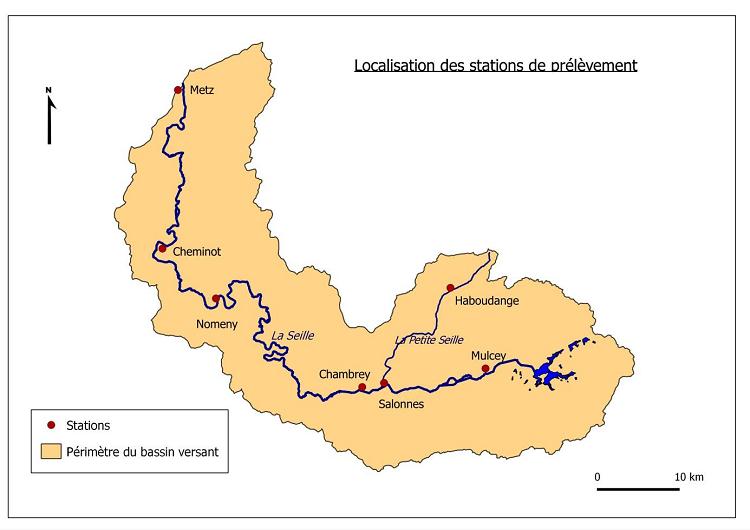 Localisation des stations de prélèvement