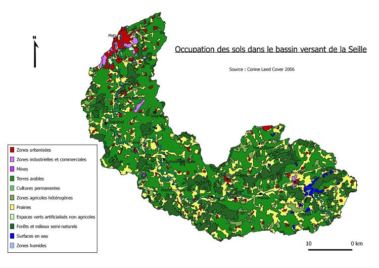 Occupation des sols sur le bassin versant de la Seille (Source CLC 2006)
