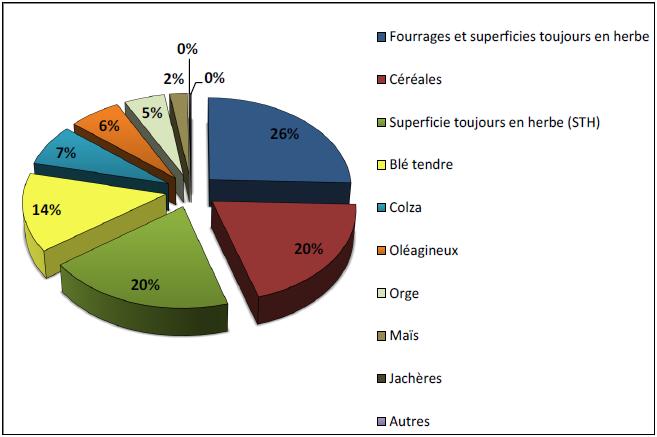 Part des productions végétales sur le bassin versant (source RA 2010)