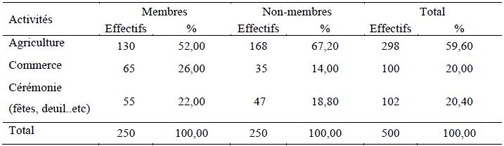 Activités des enquêtées nécessitant des financements externes