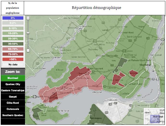 Carte de répartition de la population anglophone de Montréal