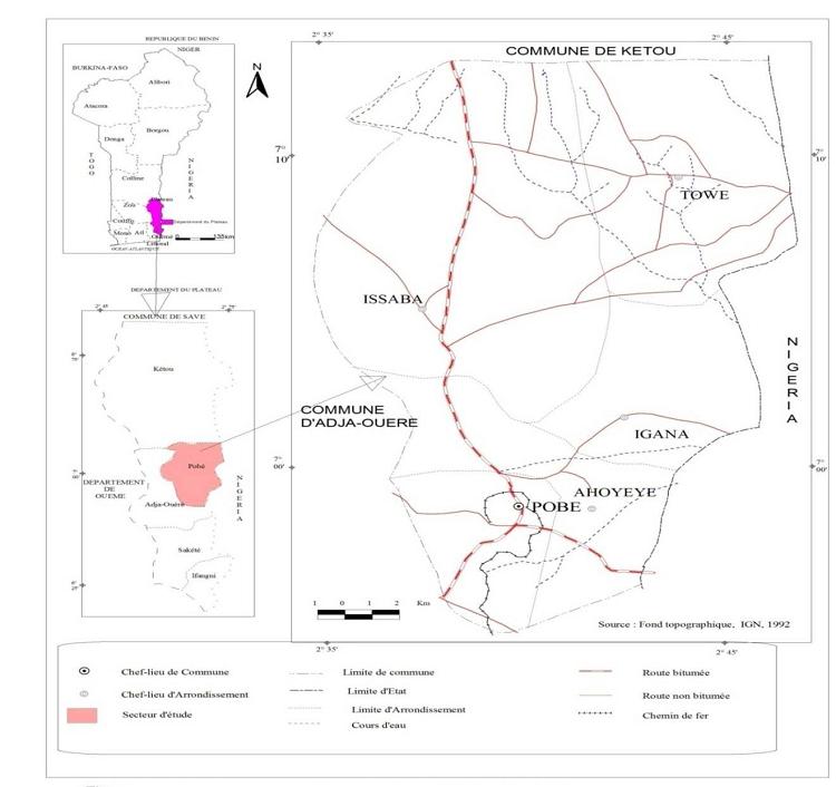 Situation géographique et administrative de la commune de Pobè