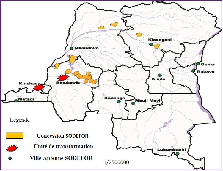 Carte de localisation des sites SODEFOR