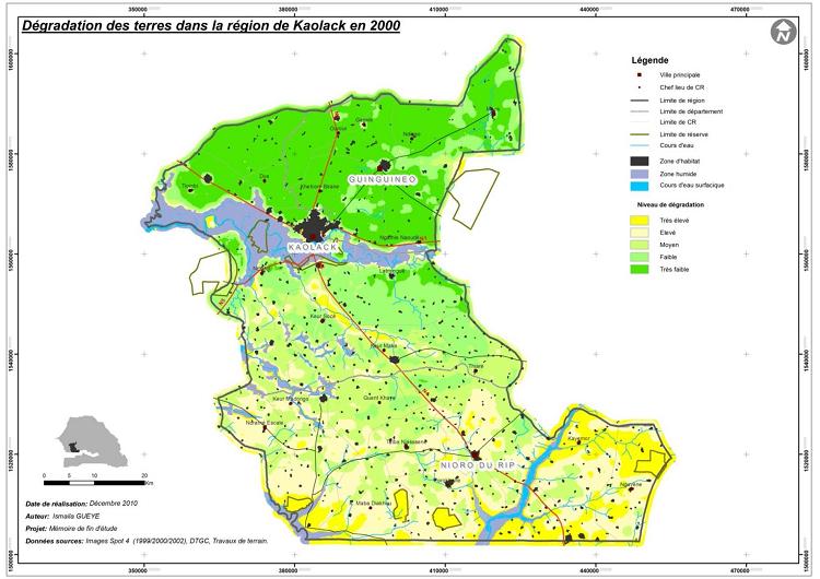 Dégradation des terres dans la région de Kaolack en 2000