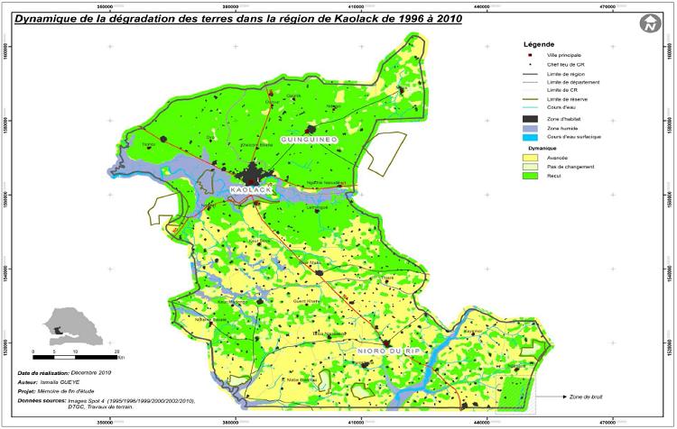 Dynamique de la dégradation des terres dans la région de Kaolack de 1996 à 2010