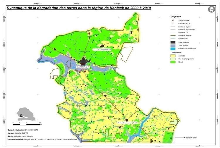Dynamique de la dégradation des terres dans la région de Kaolack de 2000 à 2010