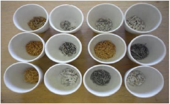 Les échantillons à la sortie du four à moufle