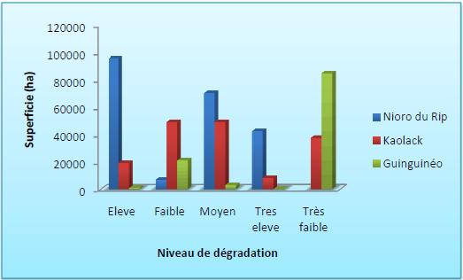 Niveaux de dégradation des terres par département dans la région de Kaolack en 1996