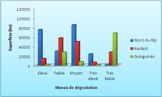 Niveaux de dégradation des terres par département dans la région de Kaolack en 2010