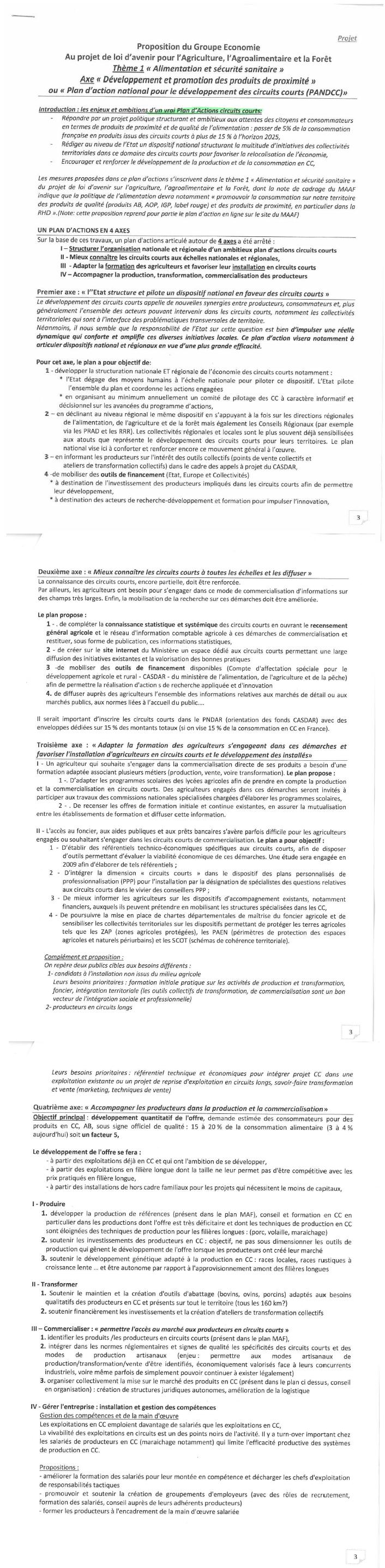 Plan d'action proposé pour le développement des circuits courts