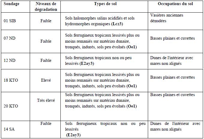 Points de sondages, niveaux de dégradation et types de sols