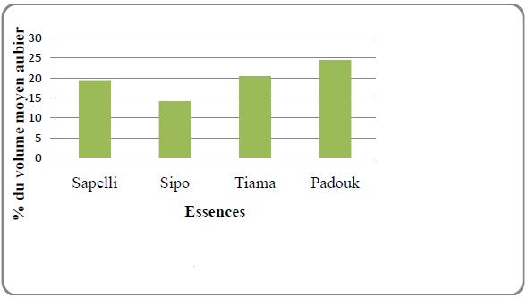 Pourcentage du volume moyen aubier des quelques essences sciées