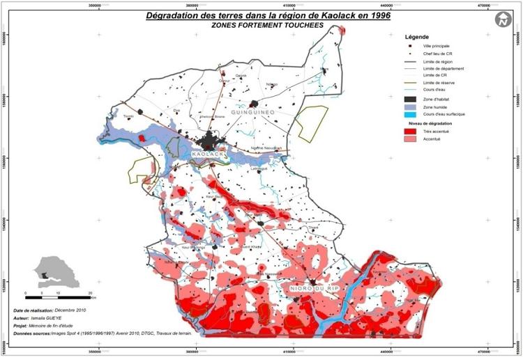 Répartition de la dégradation de niveaux d'intensité élevés en 1996