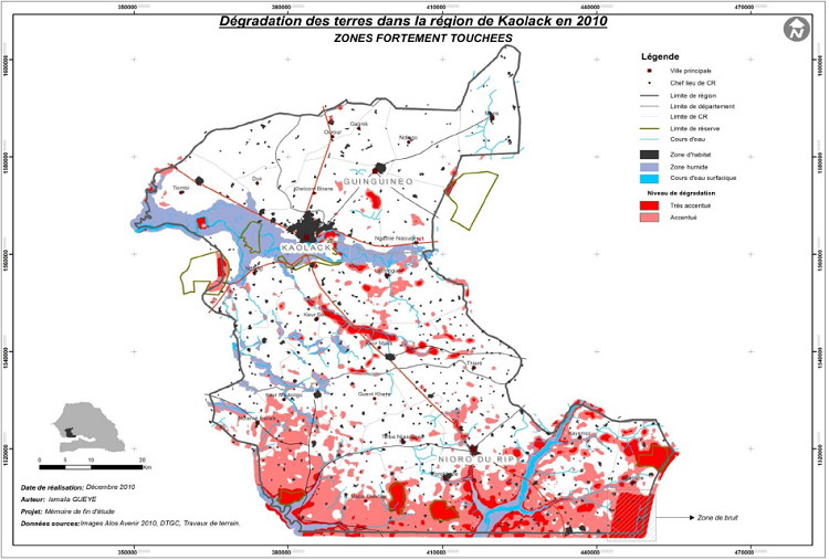 Répartition de la dégradation de niveaux d'intensité élevés en 2010